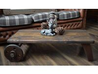 Reclaimed Handmade Rustic Iron Wheels Old Coffee Table