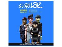 2 Gorillaz 'SECOND ROW' Seated Tickets O2 Arena London 4/12/17