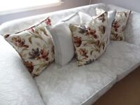 NATURAL FLORAL SOFA'S - 1 x THREE SEATER - 2 x TWO SEATER - 6 YRS WARRANTY REMAINING