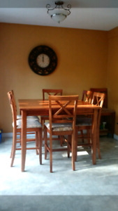 Solid Wood Pub Style Table with 8 Chairs
