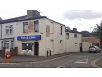 FISH & CHIPS / PIZZA / KEBABS TAKEAWAY SHOP + 3 BED ROOM FLAT ABOVE WITH SEPARATE ENTRANCE.