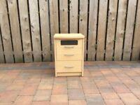 3 drawer light oak beside unit