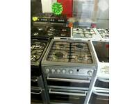 HOTPOINT 60CM GAS DOUBLE OVEN COOKER IN GREY