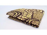 African Print Pocket Square - made in Uganda - Cream/Burgundy