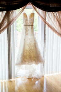 White wedding gown with attached train