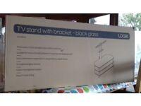 Logik black TV stand and glass shelves