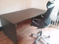Office Desks and chairs, 2 desks & 2 swivel chairs,1 yr old, clean, firm and in very good condition.