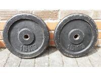 CAST IRON 15KG WEIGHT PLATES