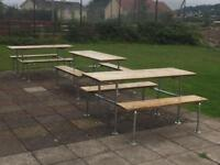 Classic pub design table and benches made with scaffold boards and scaffold pole fittings.
