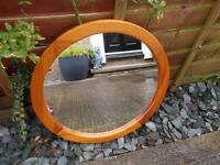Circular pine framed mirror