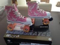 Girls Quad skates size 34 ( 2 ) in pink with white butterflies