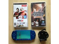 Sony PSP Slim & Lite 3003 in Blue with Charger, FIFA & Football Manager