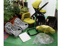 Graco Evo Travel system in Lime newborn pram 2 car seats 2 car bases carry cot umbrella rain cover f