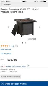 Brand new never turned on fully assembled fire pit table