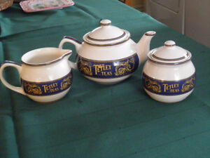 TETLEY TEA  TEA POT WITH CREAM & SUGAR