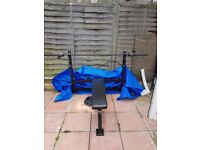 Heavy Duty BENCH and OLYMPIC BAR (20kg) 7ft in Black with 60kg of Weights