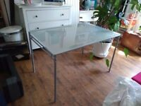Ikea frosted glass dining table and chairs