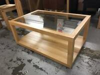 Oak and glass coffee table new