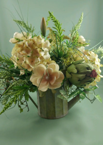 Silk Floral Arrangement in a watering can