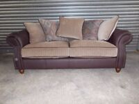 Luxury Brown Leather and Oatmeal Fabric 3-2-1 Suite (Sofa)
