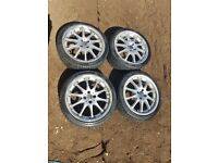 10 SPOKE 4X100 ALLOYS VW GOLF MK2 E30 CITREON PEUGEOT POLO SPLIT RIM DEEP DISH