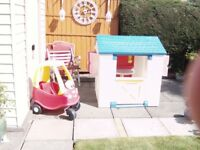 Childminder clearing toys incl. Wendy House,Little Tykes pedal car,3 wheel bike,rocking horse cheap.