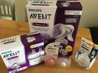 Avent manual breast pump and bottles