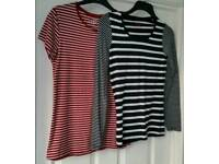 2 LADIES COTTON STRETCH TOPS SIZE 12