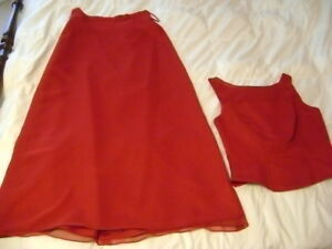 Red two piece dress
