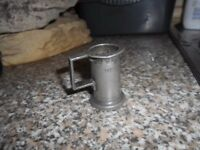 ANTIQUE DOUBLE CENTILITRE PEWTER MEASURE