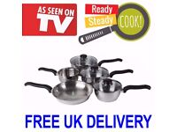 5 Piece Ready Steady Cook Stainless Pan Set . More info 0161 220 1746