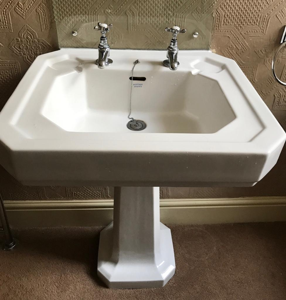 Armitage shanks bathroom sinks - Armitage Shanks Sink Toilet Set Oval Swivel Mirror Wooden Bathroom Cabinet