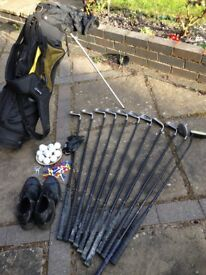 Lynx Black Cat Graphite golf clubs including self standing carry bag, shoes, balls and tees