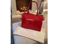 Hobb's Red Leather Paton Handbag with Shoulder Strap