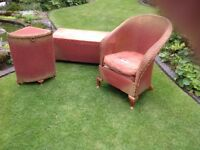 Genuine 1930's Lloyd loom chair, corner linen basket and ottoman