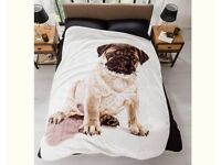 Pug Print Fleece Throw - Single or double bed size