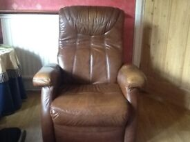 Brown leather reclining armchair in vgc. Smoke free/pet free home