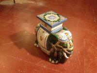 Very Ornamental Vintage Elephant Howdah Garden Seat Plant Stand pottery porcelain