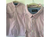 Men's 2XL Burton white red Blue Checked Short Sleeve Shirt