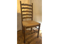 Set of 5 antique style rattan weave ladderback chairs