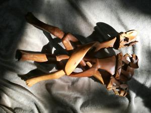 African carved wood elephant tripod bowl holder & rhinoceros urn