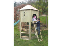 all out play wooden den / castle / climbing frame