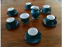 Denby Greenwich espresso cups + milk jug + sugar bowl