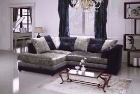 🤴🏻 DYLAN CRUSH VELVET CORNER OR 3+2 SOFA SET IN BLACK/SILVER/BOTH COLORS WITH SAME DAY DELIVERY!!!