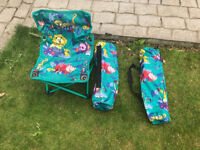 a pair of childrens garden beach chairs with carry bags