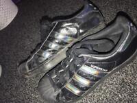 Black / reflective adidas superstars shoes
