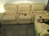 Real leather electric recliner cinema sofas x2