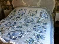 Vintage style Patchwork quilted bed cover throw Blue