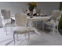Shabby Chic French Style Dining Table & 4 Chairs Laura Ashley Lisette Floral Fabric
