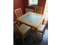 Square Wooden Glass Top Dining Room Table 4 Chairs